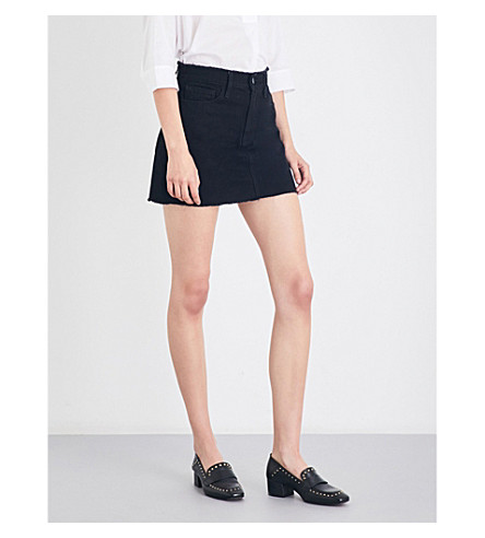 FRAME Le mini raw-edged skirt (Black+forest