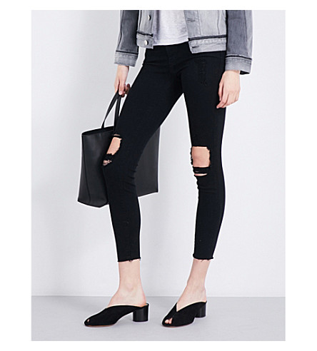 FRAME Le Skinny De Jeanne distressed skinny mid-rise jeans (Lord+noir