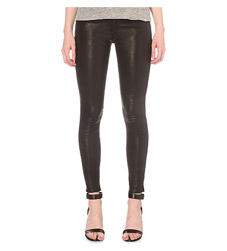 FRAME Le Skinny mid-rise leather jeans (Washed black