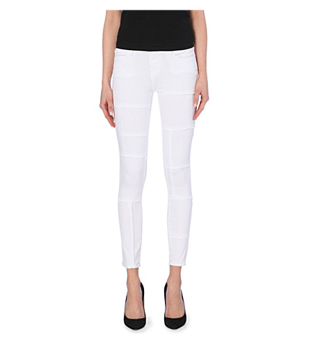 FRAME Le Skinny panelled skinny mid-rise jeans (Blanc