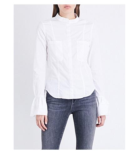 FRAME Band-collar poplin blouse (Blanc