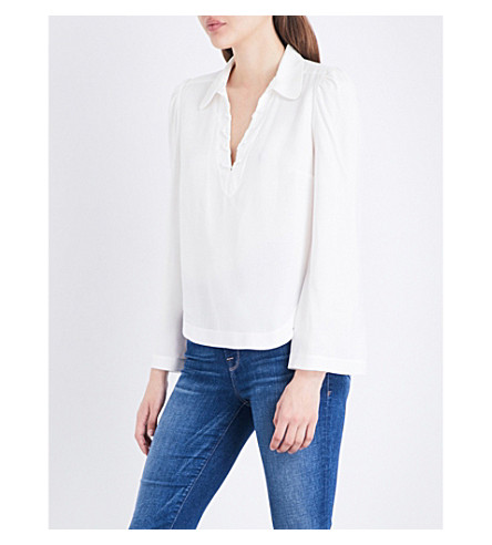 FRAME Whipstitch-detailed twill blouse (Off+white