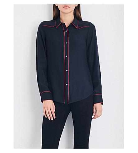 FRAME Western silk-crepe shirt (Navy