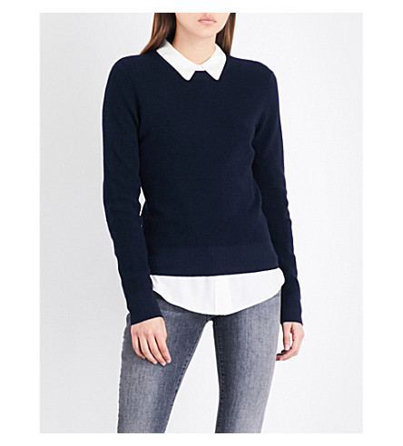 FRAME Waffle-knit cotton ancd cashmere-blend jumper (Navy
