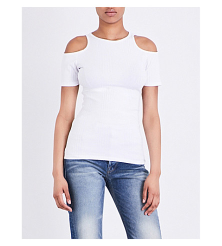 FRAME Variegated cold-shoulder knitted T-shirt (Blanc