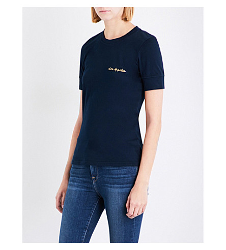 FRAME Extended cuff embroidered logo T-shirt (Navy