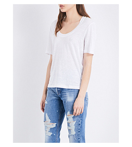 FRAME U-neck linen T-shirt (Blanc