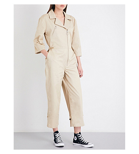 FRAME Cropped high-rise cotton-twill jumpsuit (Khaki