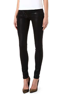 KILL CITY Junkie Moto coated super-skinny mid-rise jeans
