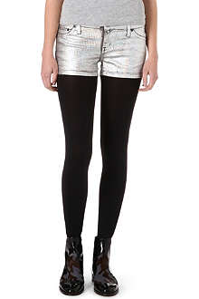 KILL CITY Junkie hologram-foiled denim shorts
