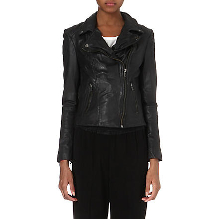 MUUBAA Indus leather biker jacket (Black