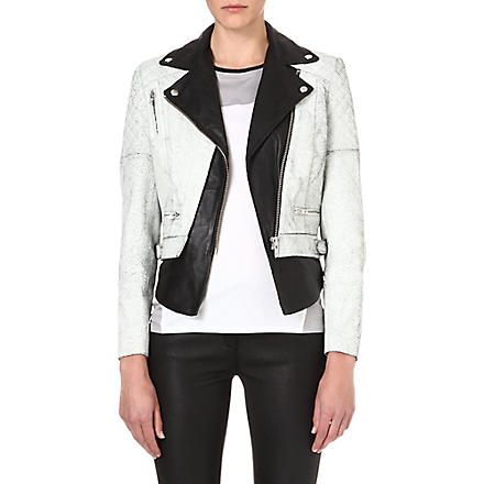 MUUBAA Tugela leather biker jacket (Black/white