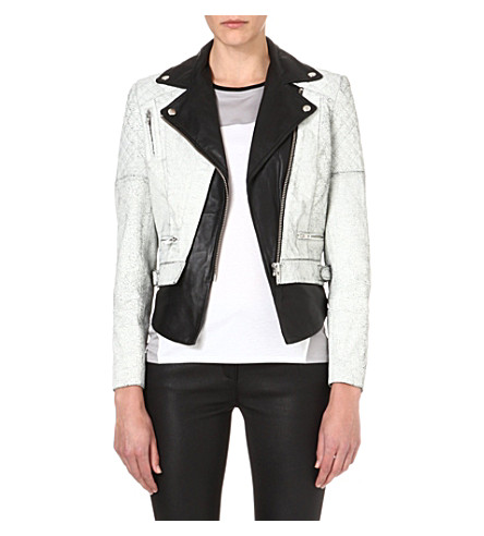 MUUBAA Tugela leather biker jacket (Black/white