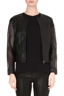 MUUBAA Lagan laser-cut leather bomber jacket