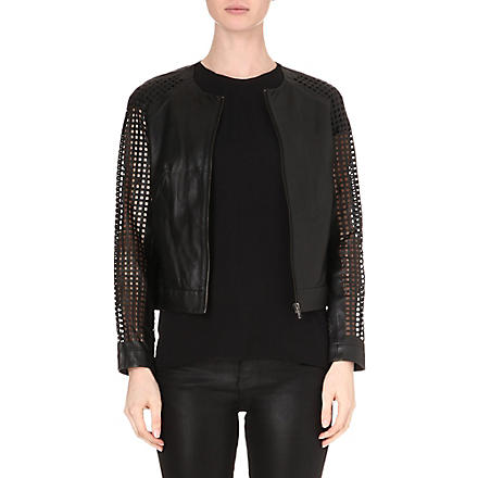 MUUBAA Lagan laser-cut leather bomber jacket (Black