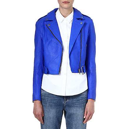 MUUBAA Sembri cropped leather biker jacket (Atomic+blue
