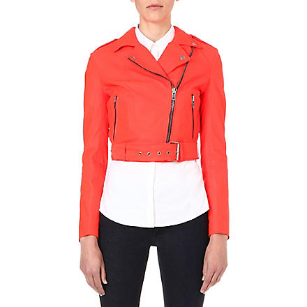 MUUBAA Sembri cropped leather biker jacket (Flame