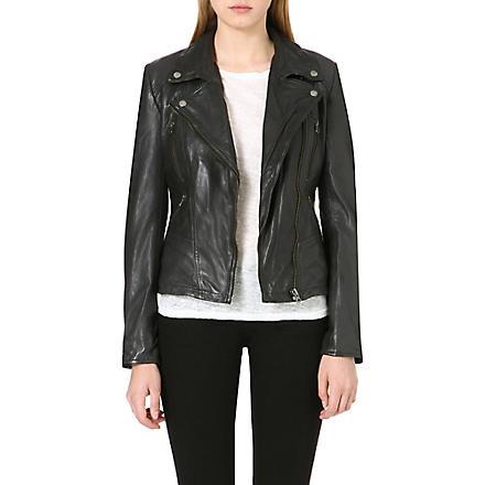FREE PEOPLE Leather biker jacket (Black