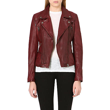 FREE PEOPLE Leather biker jacket (Red