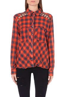 FREE PEOPLE Plaid print shoulder lace shirt