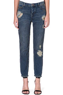 FREE PEOPLE Boyfriend distressed mid-rise jeans