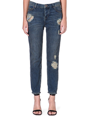 FREE PEOPLE Boyfriend distressed mid-rise jeans