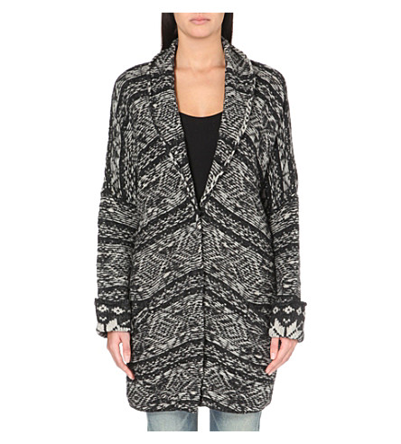 FREE PEOPLE Hidden snowflake knitted cardigan (Charcoal combo