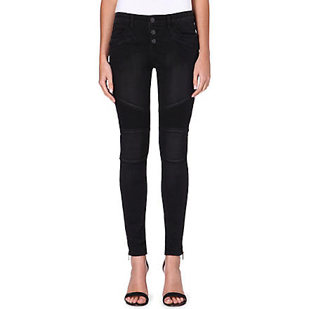 FREE PEOPLE Seamed Moto skinny mid-rise jeans (Moonlight