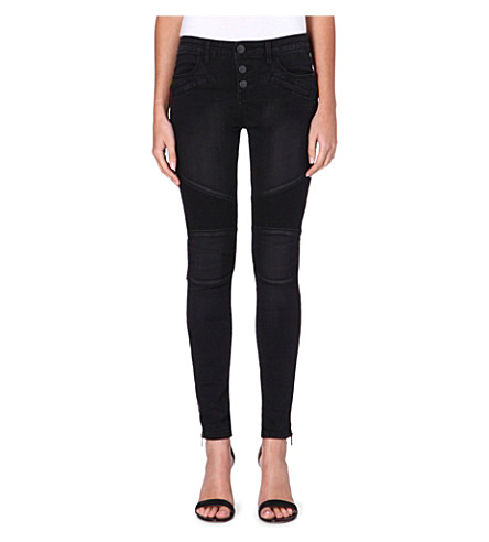 FREE PEOPLE Seamed Moto skinny mid-rise jeans (Moonlight