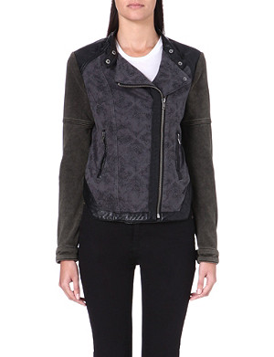 FREE PEOPLE Faux leather panel jacket