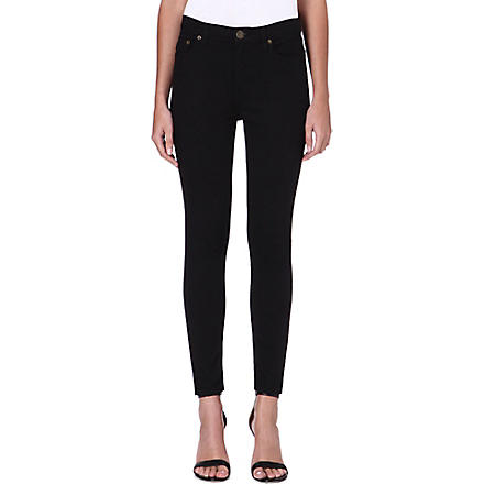 FREE PEOPLE Skinny high-rise crop jeans (Black