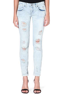 FREE PEOPLE Destroyed skinny low-rise jeans