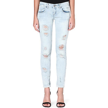 FREE PEOPLE Destroyed skinny low-rise jeans (Coachella