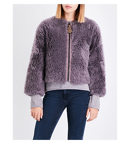 MIH JEANS Purdy cropped shearling jacket (Violet+indigo
