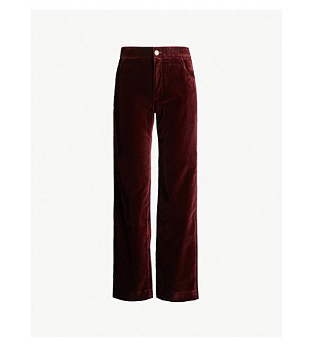 MIH JEANS Paradise high-rise wide-leg velvet pants (Burgandy