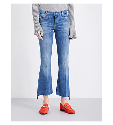 MIH JEANS Marrakesh stepped-hem flared high-rise jeans (Bee+wash
