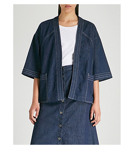 MIH JEANS Farrier stretch-denim kimono jacket (Eco+rinse