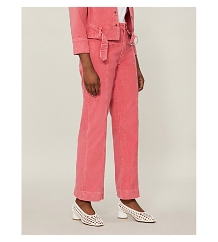 MIH JEANS Paradise wide mid-rise corduroy jeans (Skittle+pink