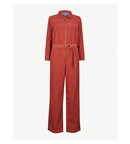 MIH JEANS Drayson cotton jumpsuit (Red+copper