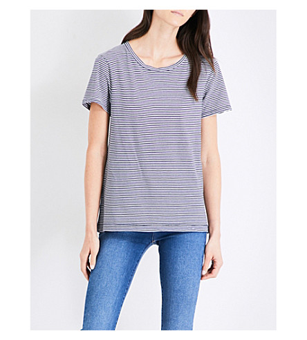 MIH JEANS Nora striped cotton T-shirt (Navy/white+nvw