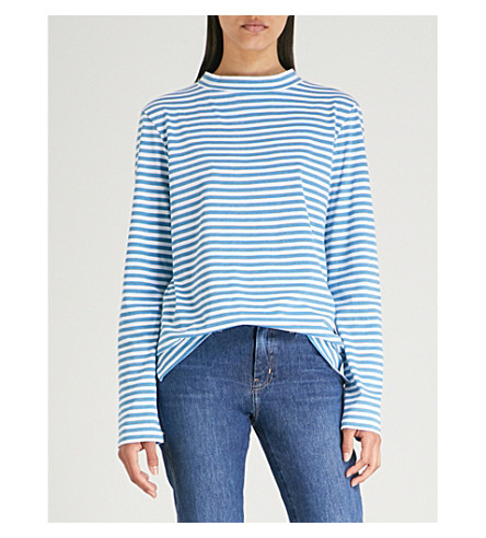MIH JEANS Emelie striped cotton-jersey top (Sea+blue