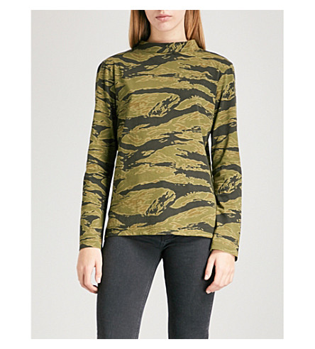 MIH JEANS Emelie striped cotton-jersey top (Tiger+camo