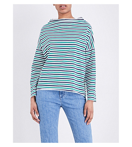 MIH JEANS Striped cotton-jersey top (Portobello+green/navy