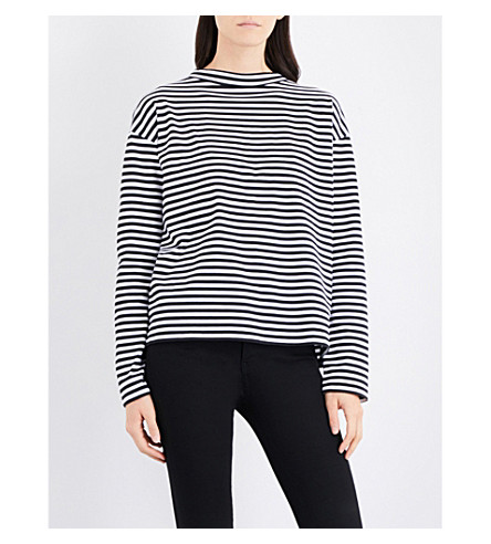 MIH JEANS Seberg Breton striped cotton-jersey top (Black/white