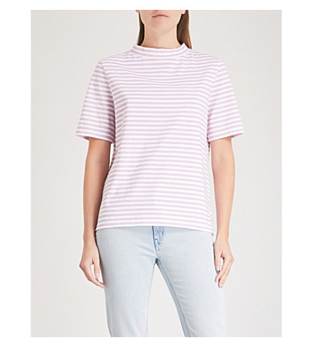 MIH JEANS Penny striped cotton-jersey top (Lupin