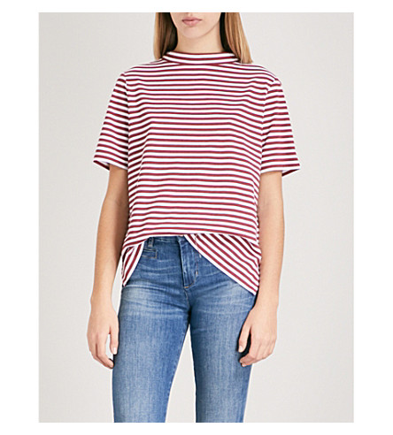 MIH JEANS Penny striped cotton-jersey top (Red+apple