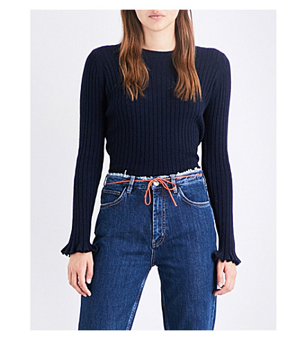MIH JEANS Harpy cashmere and wool-blend jumper (Navy+nvy