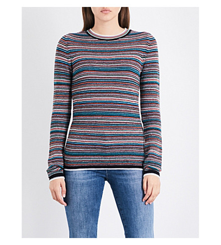 MIH JEANS Moonie striped merino wool jumper (White/black/multi+wbm