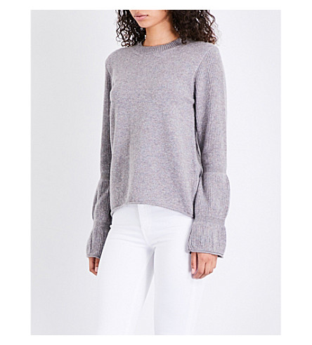 MIH JEANS Bubble flared-cuff wool jumper (Marble+grey