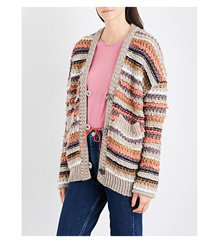 MIH JEANS Martello chunky-knit cardigan (Moon+multi
